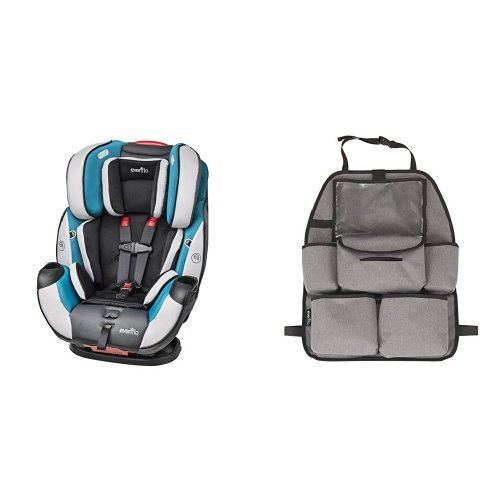All-In-One Convertible Car Seat, Modesto with Deluxe Car Backseat Organizer, Grey Melange ()