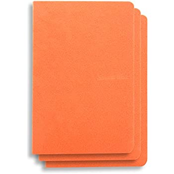 (Pack Of 3) 6 x 4 inches NoteBook Handmade Soft Orange Fabric Cover, 200 lined Pages | Lay Flat Binding | Cream Paper , A6 Size