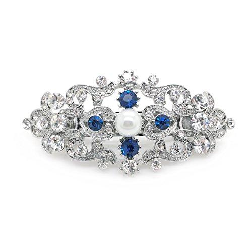 Women Hair Barrette Something Blue Wedding Crystal Simulated Pearl Romancing Heart Rhinestone Small, 2.5in