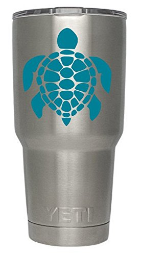 Sea Turtles (Teal) Decals for Yeti cups - Car Sticker - Car Decal - Window Sticker for Tumbler, Cup, Car, Truck, Wall, Notebook, SUV, Computer, Laptop, Motorcycle, Helmet (Teal) - Turtle Cup