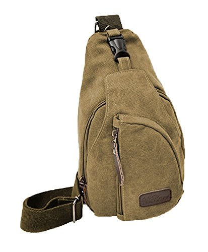 Niceeshop (tm) Backpack Shoulder Bag Canvas Leisure Travel Sport Man's Chest, Khaki Coffee
