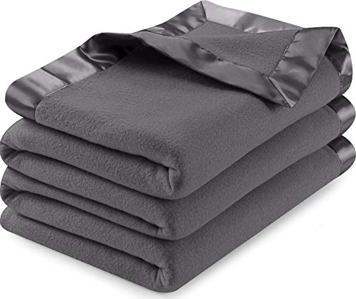 Utopia Bedding Sateen Polar Fleece Blanket with Sateen Ribbon Edges (Grey, Queen) – Extra Soft Brush Fabric – Super Warm, Lightweight Bed/Couch Blanket – Easy Care