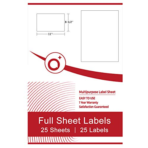 White Full Sheet Labels 8.5