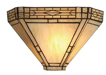 Oaks Lighting OT1849 WB Orphelia Tiffany - Lámpara de pared de cristal, 60 W, 32 x 21cm