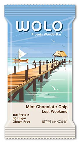 WOLO WanderBar, Mint Chocolate Chip, 6 Bars, All Natural Protein Bar, 15g Protein