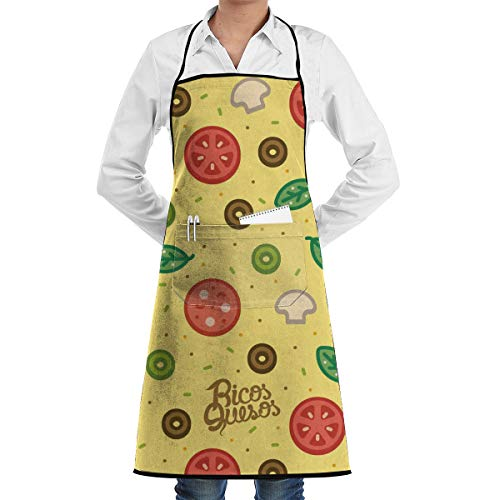 Vicrunning Tomato Leaf Pattern Aprons Bib for Mens Womens Garden String Adjustable Adult Kitchen Waiter Aprons with ()
