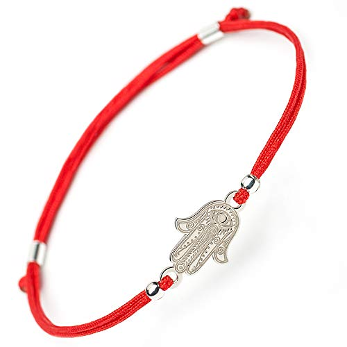 Hamsa Hand of Fatima Silver Bracelet - Evil Eye Protection Sterling Silver Charm Jewelry Lucky Success Pendant Black Red String Rope Adjustable Friendship Handmade Bracelet Men Women (red)]()