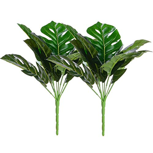 Artiflr Artificial Plant Monstera Deliciosa Decor 2 Bundles Fake Shrubs Tropical Leaves Greenery Stems Palm Leaf Decor for Hawaiian Luau Party Decoration
