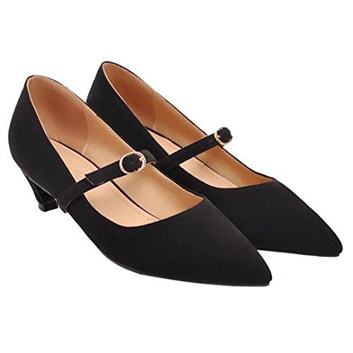 AIYOUMEI Damen Kitten Heel Pumps mit Schnalle Mary Janes Kleiner Absatz Schuhe Damen Schwarz