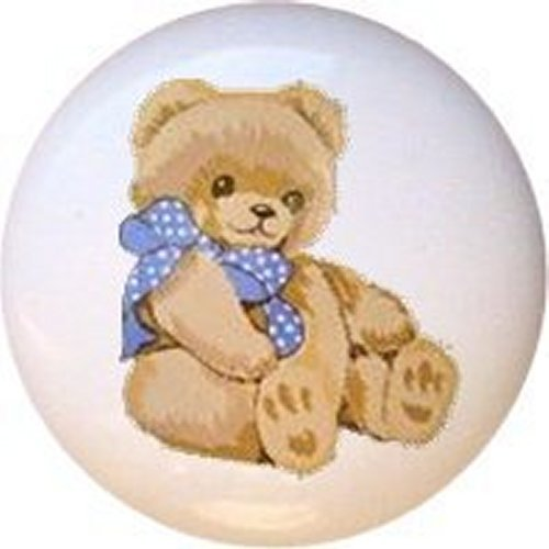 Tienshan Country Bear Theodore Decorative Glossy Ceramic Drawer Knob