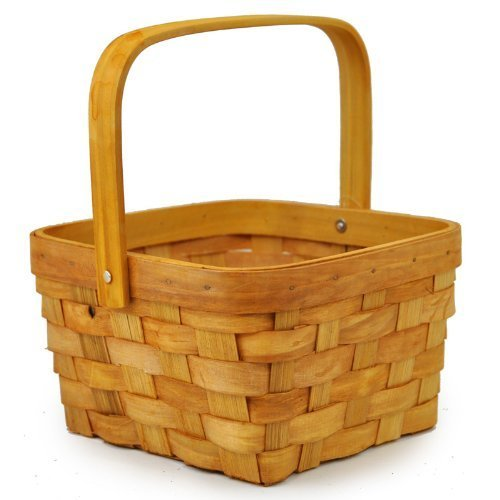 The Lucky Clover Trading Woodchip Swing Square Handle Basket, Small, (Wood Chip Basket)