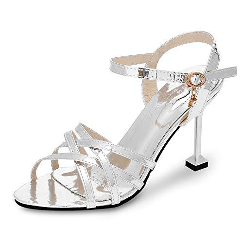 KCatsy Open Toe Criss-Cross Ankle Strap Stiletto Heel Sandals Women Gladiator Shoes Silver