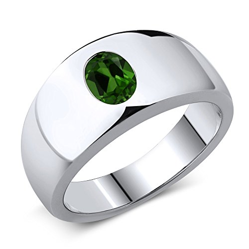 Gem Stone King 1.20 Ct Oval Green Chrome Diopside 925 Sterling Silver Men's Ring (Size 8) ()