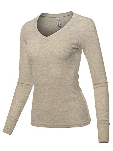 A2Y Basic Solid Long Sleeve V Neck Fitted Thermal Top Shirt Oatmeal L