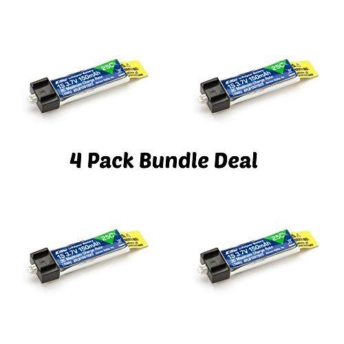 4-Pack of E-flite 3.7 volt 150mAh 25C Lipos for Blade mCX mCX2 mSR mSR X Nano QX Nano CPX UMX AS3Xtra