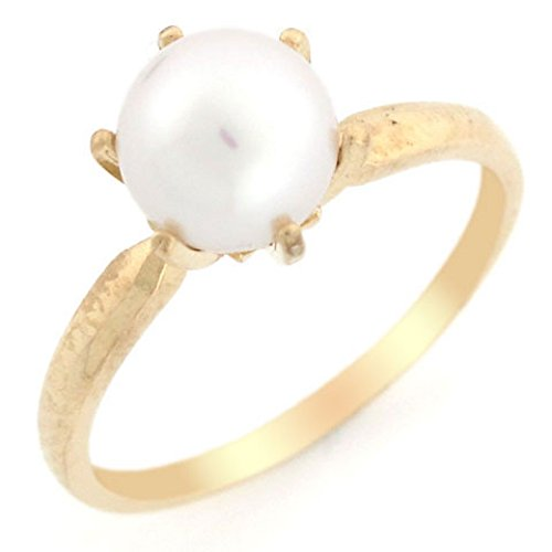 (14k Solid Yellow Gold Cultured Pearl Solitaire Ring Jewelry)