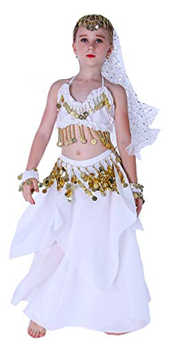 Jeanie Costume for Girls Belly Dancer Halloween Costumes Size 4T 4 5 6 7 8 10 12 14 16 White