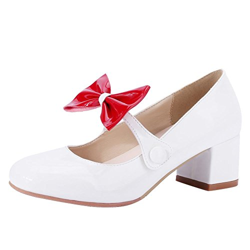 Mee Shoes Damen süß chunky heels Schleife Mary Jane Halbschuhe Weiß