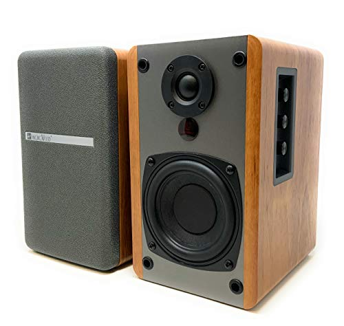 SINGING WOOD BT25 Active Bluetooth Bookshelf Speakers- Studio Monitor Speaker -2 AUX Input – Full Function Remote Control – Wooden Enclosure – 50 Watts RMS (Beech Wood)