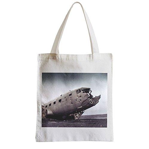 Große Tasche Sack Einkaufsbummel Strand Schüler Flugzeugabsturz solheimasandur Island 1964