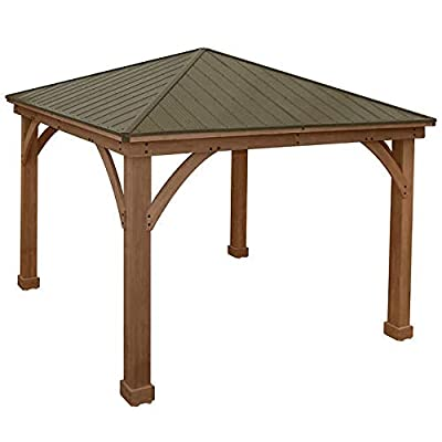 Gazebo with Aluminum Roof by Yardistry Cedar Wood 12' x 12', Perfect Addition for Patio or Garden : Garden & Outdoor