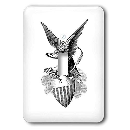 - 3dRose lens Art by Florene - Black And White - Image of Sketch Of Eagle With Branch In Talon On Shield - double toggle switch (lsp_317077_2)