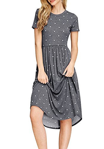 Midi Swing Dot Simier Loose Pleated Dress Summer Women Pocket Fariry Casual Gray Polka vqv84A