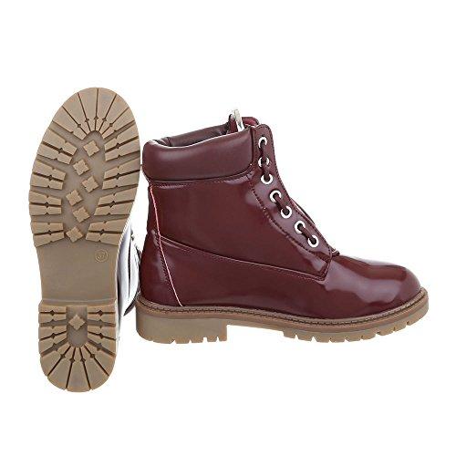 Zapatos para mujer Botas Tacón ancho Botines con cordones Ital-Design Bourgogne A-17-1