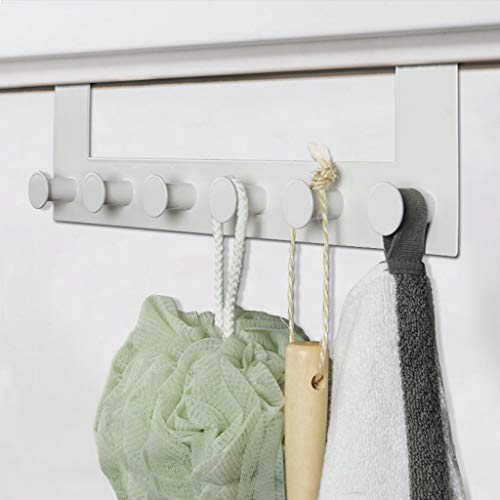 HSada Over Door Hook with 6 Hooks - Iron Art Strong Heavy Duty Door Back Hanger Hook for Coat, Towel, Bag, Robe,Hats - Office Cubicle Purse Hanger - Space Saver - Ship from USA