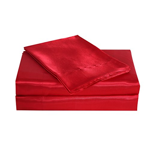 - Belles & Whistles Satin Charmeuse Sheet Set, Queen, Red