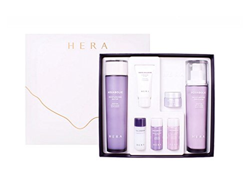 HERA Aquabolic Skincare Set ( Moisturizing water 150ml, Emulsion 120ml, Form 15ml, Cell essence 15ml, water 15ml, emulsion 15ml, Bio cream 5ml) Plus LEGGERO Neon Pink Footie Socks Gift by HERA