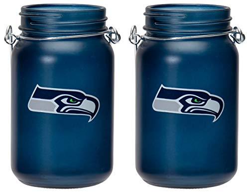 TSA NFL Seattle Seahawks LED Mason Jar Lantern 2pk (Seahawk String Lights)