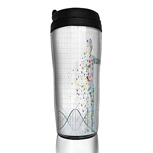 coffee cups warmer Human Anatomy,Digital Psychedelic Molecule Body of Human DNA Genetic Helix Life Art Design,Light Blue 12 oz,coffee cup holder for wheelchair