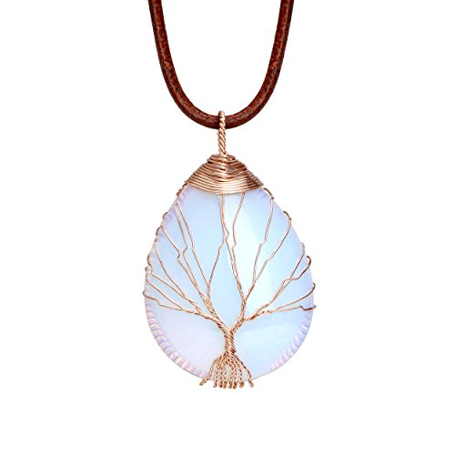 October Birthstone Girl Pendant - Tree of Life Teardrop Heart Pendant Necklace 14K Gold Plated Copper Wire Wrapped Handmade Choker 18