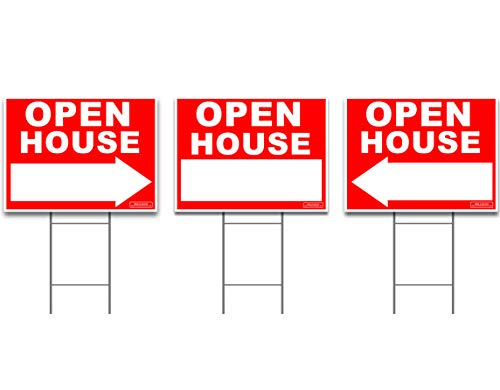 - Large OPEN HOUSE Sign Kit with Tall Stands - Yard Sign Bundle for Real Estate - 3 Pack - (1) 24