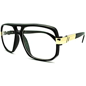 VW Eyewear - Classic Square Frame Plastic Flat Top Aviator Glasses /w Metal Trimming and Clear Lens (Gloss black gold)