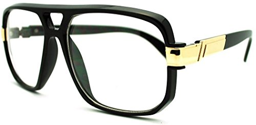 VW Eyewear - Classic Square Frame Plastic Flat Top Aviator Glasses /w Metal Trimming and Clear Lens (Gloss black - Glasses And Gold Black