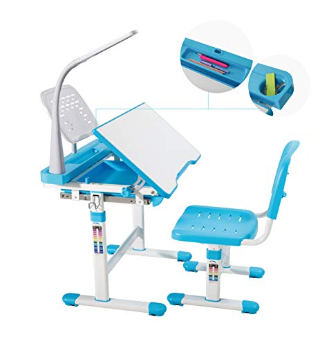- Mecor Children Desk,Kids Study Table and Chair Set Adjustable Childs Desk w/Lamp School Student Writing Desk w/Pull Out Drawer Storage,Pencil Case,Bookstand Blue