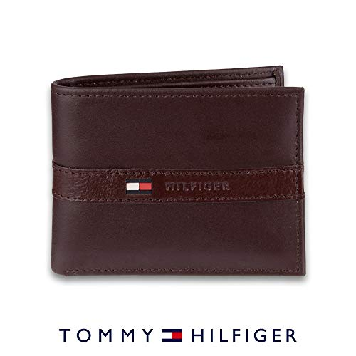- Tommy Hilfiger Men's Leather Wallet - Thin Sleek Casual Bifold with 6 Credit Card Pockets and Removable ID Window, Dark Brown