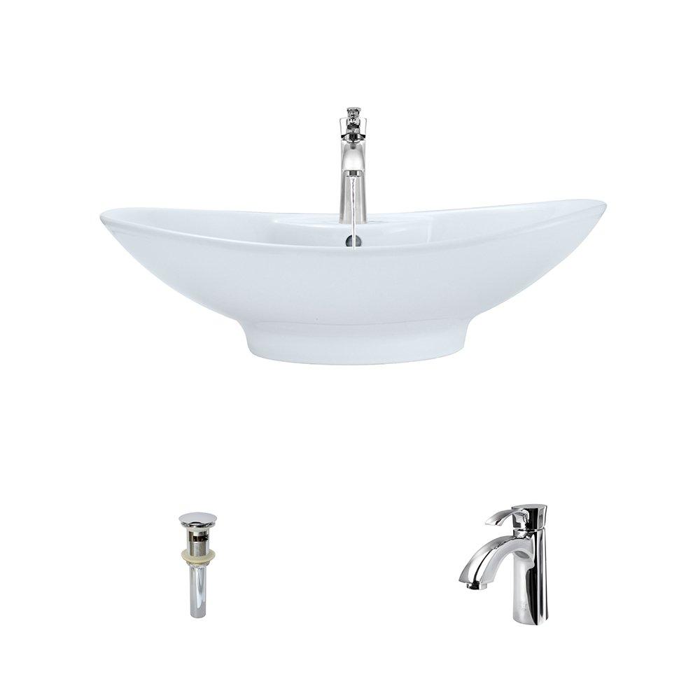 V2102-White Porcelain Vessel Sink Chrome Ensemble with 725 Vessel Faucet Bundle – 3 Items Sink, Faucet, and Pop Up Drain