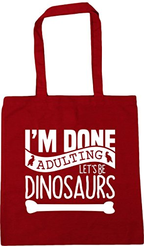 Shopping 42cm Let's HippoWarehouse Tote litres Classic Bag Red Gym Be 10 x38cm Dinosaurs Done Adulting Beach I'm UUt0P1