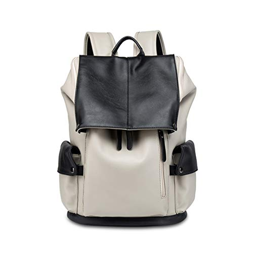 - Large Capacity PU Men's Travel Backpack For Men Women Laptop Bag Casual Daily Backpack white