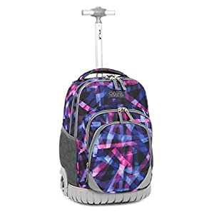 Tilami New Antifouling Design 18 Inch Oversized load multi-compartment Wheeled Rolling Backpack Luggage for Kids (Abstract pattern)