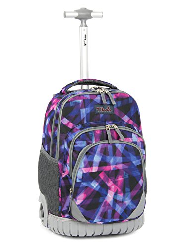 Tilami New Antifouling Design 18 Inch Oversized load multi-compartment Wheeled Rolling Backpack Luggage Kids (Abstract pattern)