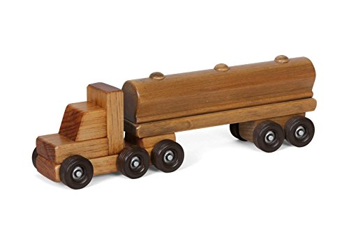 Amish-Made Wooden Semi Tanker Truck Toy