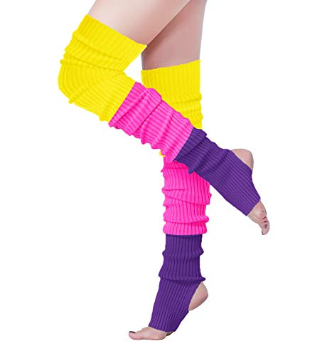 V28 Women 80s Party Warm Costume Marathon Knit Long Socks Leg Warmers (80-M3hmz) -