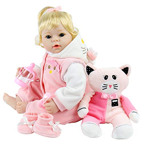 Aori Realistic Baby Doll 22 Inch Lifelike Weighted Reborn Baby Girl Doll with Pink Kitty Clothes and ()