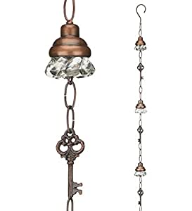Regal Art & Gift 2.75 Inches x 2.75 Inches x 104 Inches Metal and Glass Rain Chain Door Knob Garden Decor