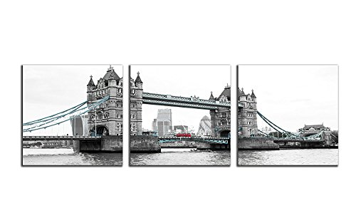 NAN Wind 3 Pcs Modern Giclee Canvas Prints Red Bus on London Bridge Black and White Wall Art Landscape Wall Decor Paintings on Canvas Stretched and Framed Ready to Hang - Frame Black London