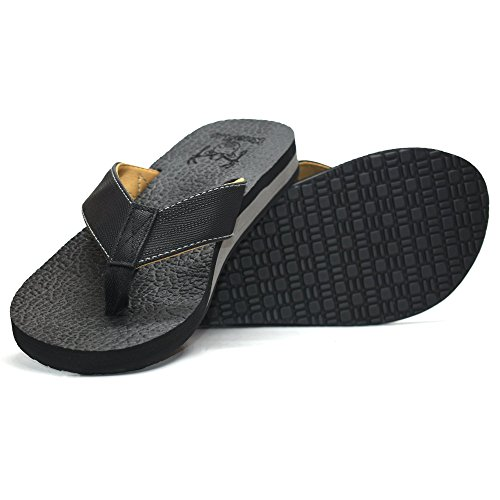 KuaiLu Men's Yoga Mat Leather Flip Flops Thong Sandals with Arch Support -